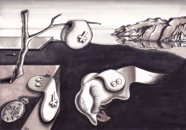 The Persistence of Normativity (after Dali) (2013 © Nicholas de Lacy-Brown, pen on paper)
