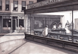 The Nighthawk Norms (after Hopper) (2012 © Nicholas de Lacy-Brown, pen on paper)