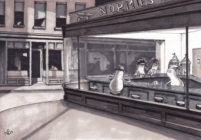 The Nighthawk Norms (after Hopper) (2012 © Nicholas de Lacy-Brown, pen on paper)