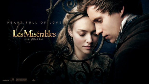 Amanda Seyfried as older Cosette and Eddie Redmayne as Marius