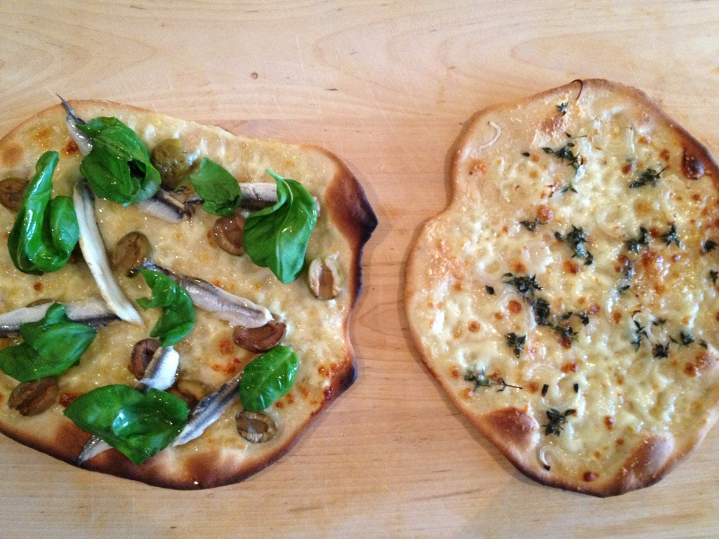Pizzetta Bianca and Anchovy, olive and basil