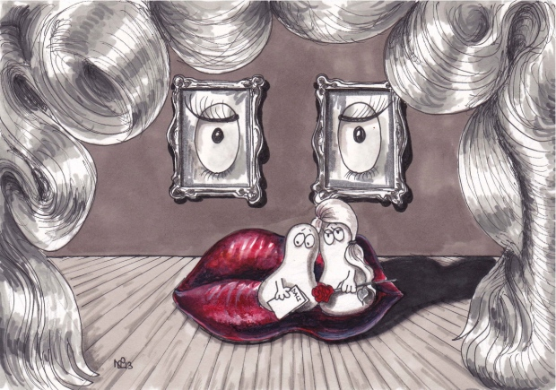 Normy and Normette ponder the meaning of Dali's Mae West Lips (2013 © Nicholas de Lacy-Brown, pen on paper)