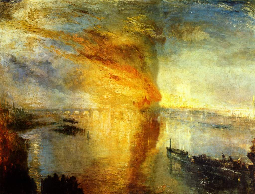 J M W Turner, The Burning of the Houses of Lords and Commons, 16th October, 1834 (1835)