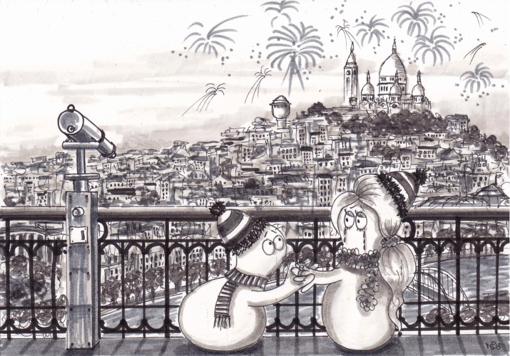 Normy and Normette: engaged on the Eiffel Tower (2013 © Nicholas de Lacy-Brown, pen on paper)