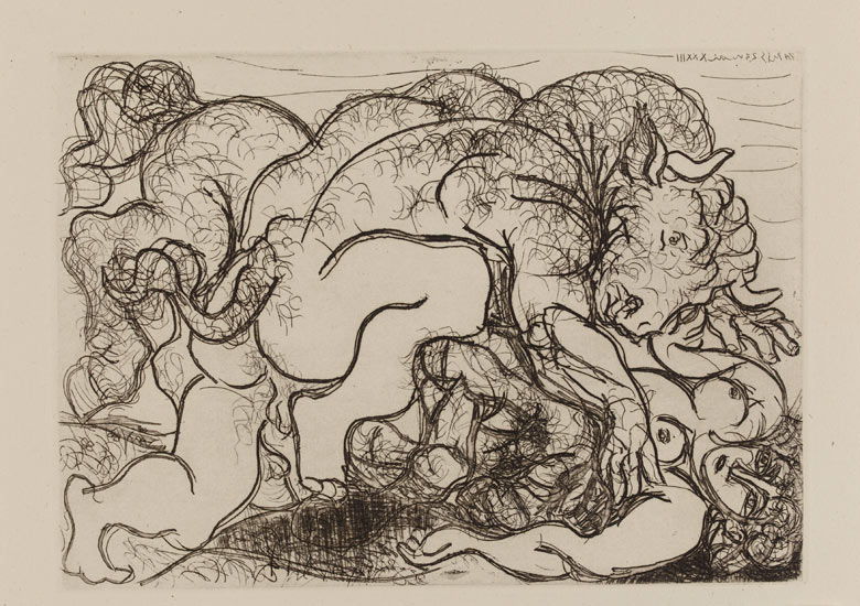 Picasso's Minotaur lying over a female centaur, 1933; plate 87 of the Vollard Suite at the British Museum