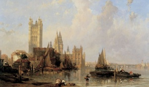 The Houses of Parliament from Millbank, David Roberts (1861) © Museum of London
