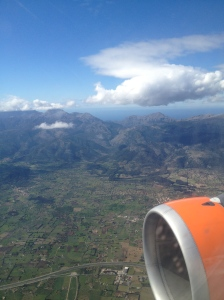 Flying across mountainous Mallorca