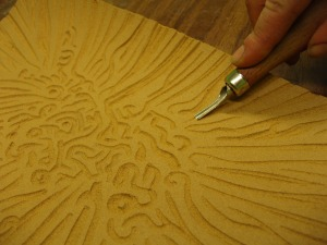Cutting into lino