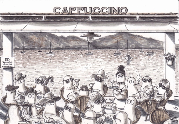 Norms at Cappuccino Pollença (2013, © Nicholas de Lacy-Brown, pen on paper)