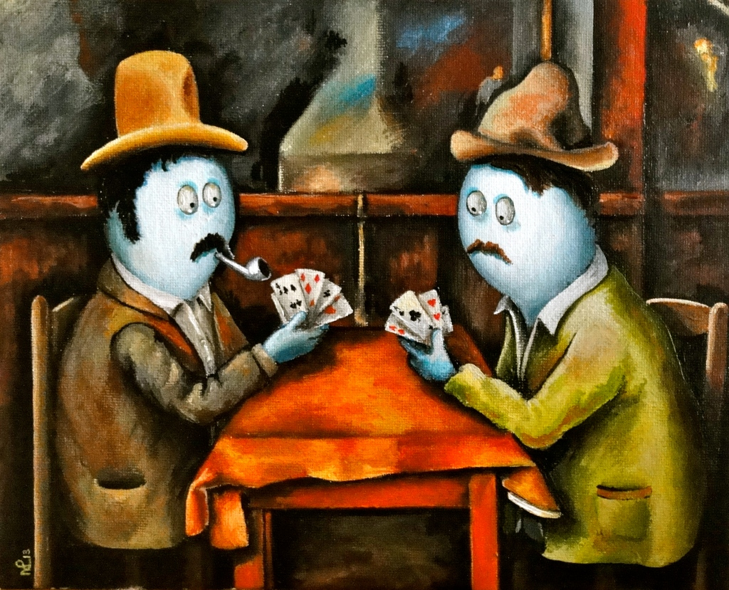 Norm Card Players (after Cézanne) (2013 © Nicholas de Lacy-Brown, acrylic on canvas)