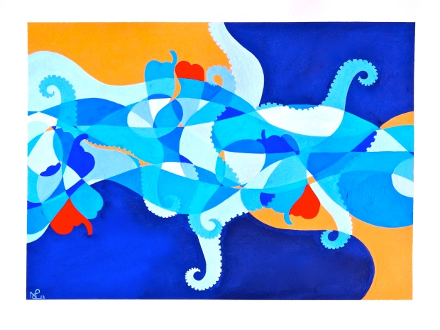 Composition No. 1 (Squid and patatas a lo pobre) 2013 © Nicholas de Lacy-Brown (Gauche on paper)