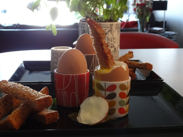 Trying out the new Orla Kiely egg cups