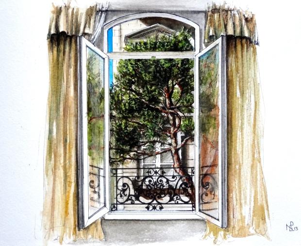 Avignon: A Room with a View (2013 © Nicholas de Lacy-Brown, watercolour on paper)