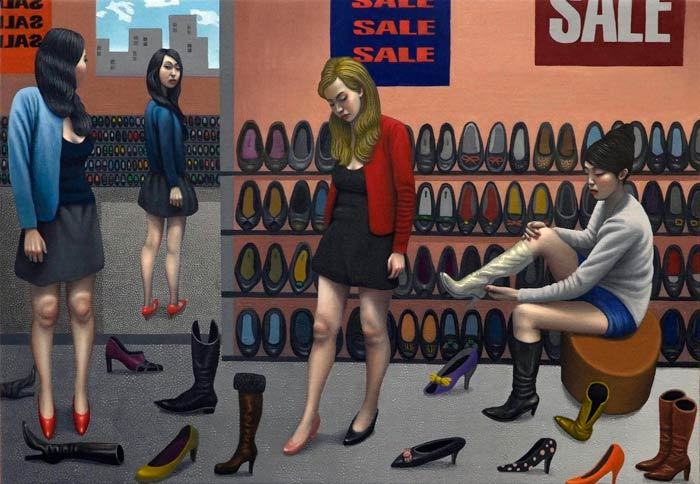 Shoe Shop (oil on canvas © Carl Randall. Reproduced with the kind permission of Carl Randall/ www.carlrandall.com)