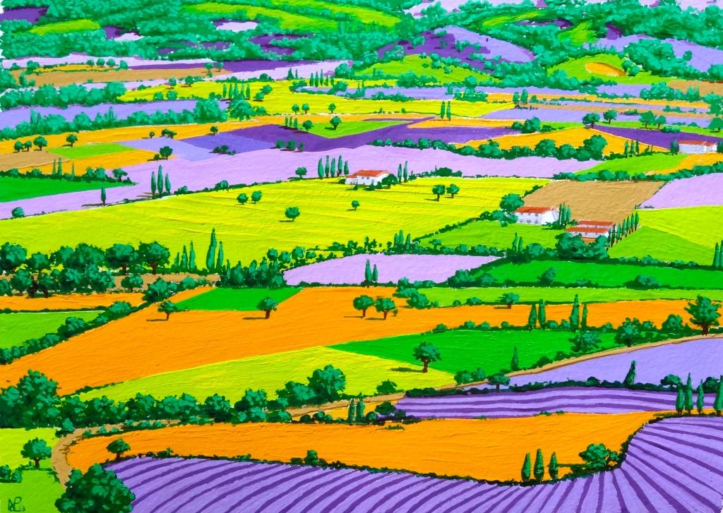 Composition No. 5 (Provence Patchwork) (2013 © Nicholas de Lacy-Brown, gouache on paper)