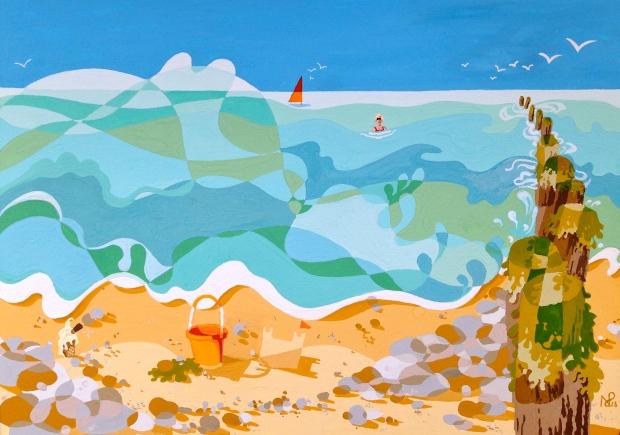 Composition No. 6 (Summertime Sussex: Taking a bathe) (2013 © Nicholas de Lacy-Brown, gauche on paper)