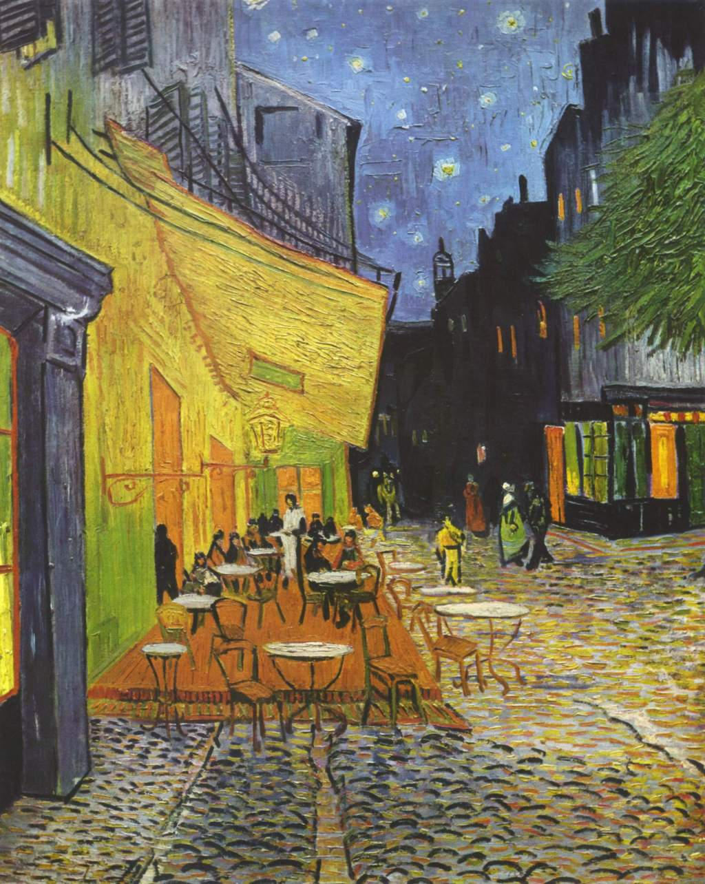 Cafe Terrace on the Place Du Forum Arles, at Night (1888)