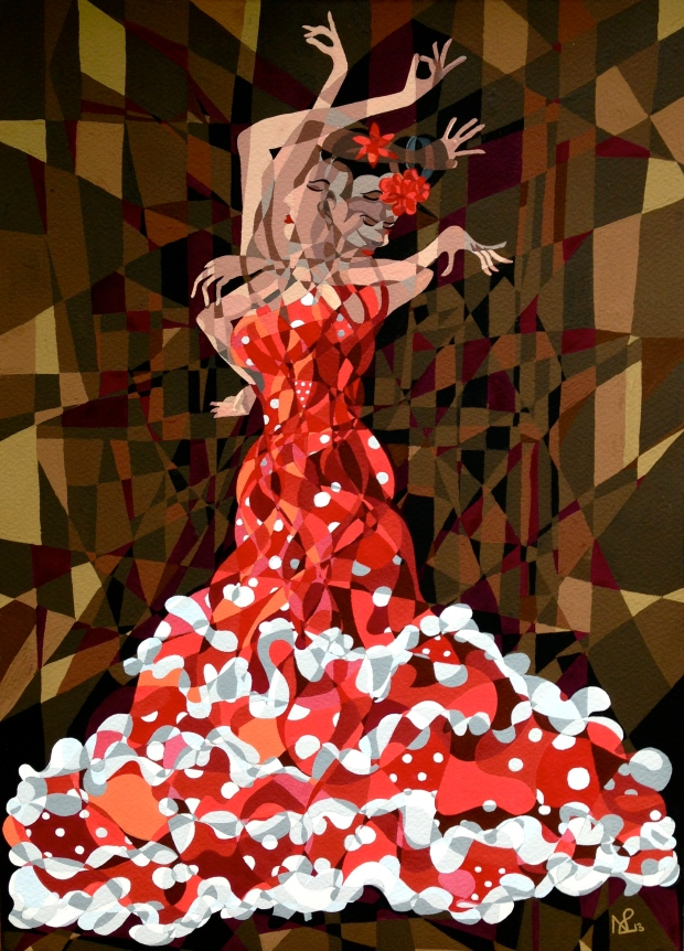 Composition No. 8 - La Flamenca (2013 © Nicholas de Lacy-Brown, gouache on paper)
