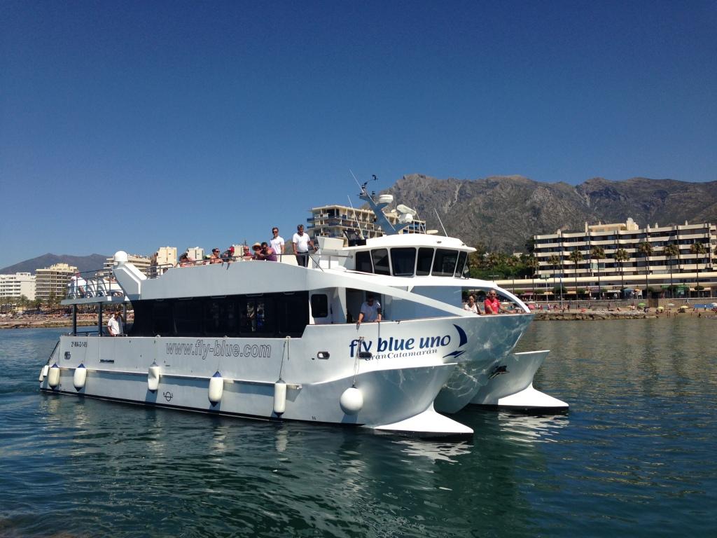 The catamaran taking us to Banus