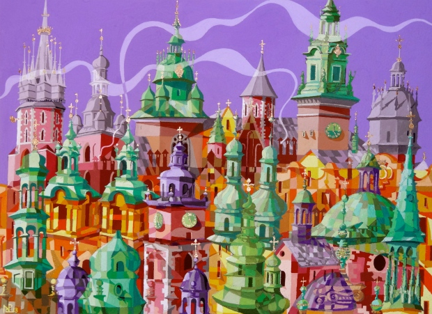 Composition No. 10 - Cupolas of Krakow (2013 © Nicholas de Lacy-Brown, gouache on paper)