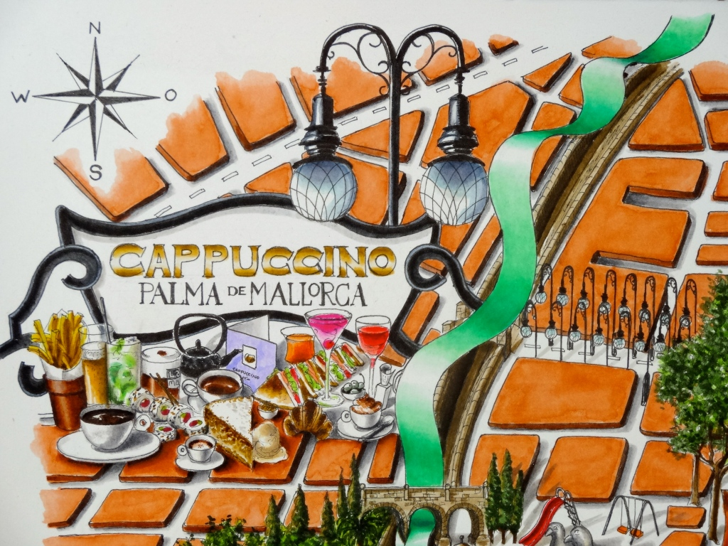 The Cappuccino Brand Fusion placed in an iconic modernista shop sign (now home to Colon takeaway)
