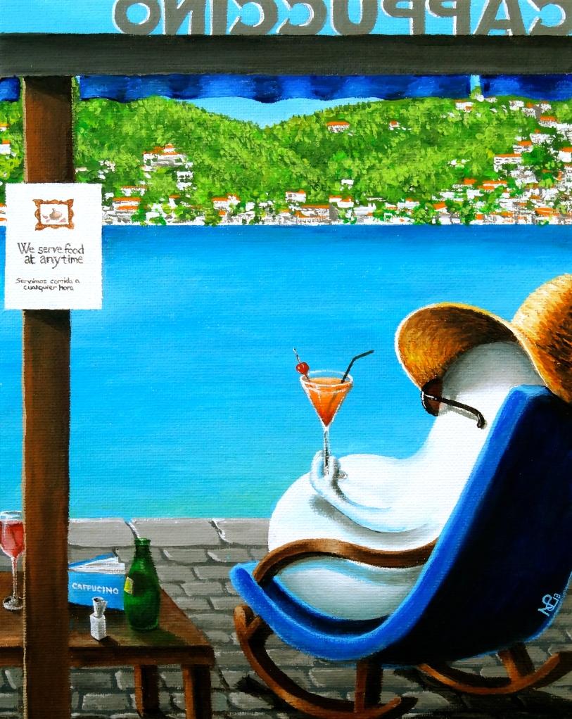 Norm at Puerto Andratx (2013 © Nicholas de Lacy-Brown, acrylic on canvas)