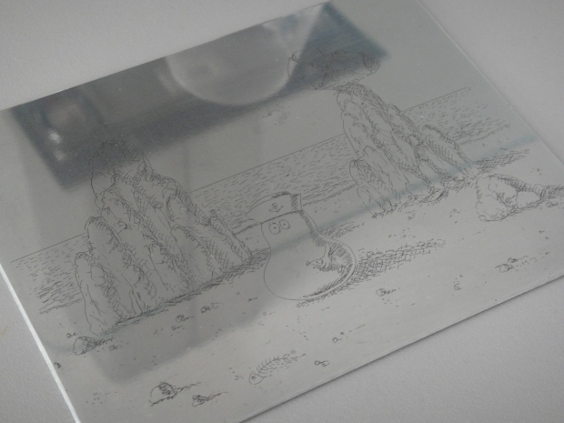 The zinc plate with image etched into it