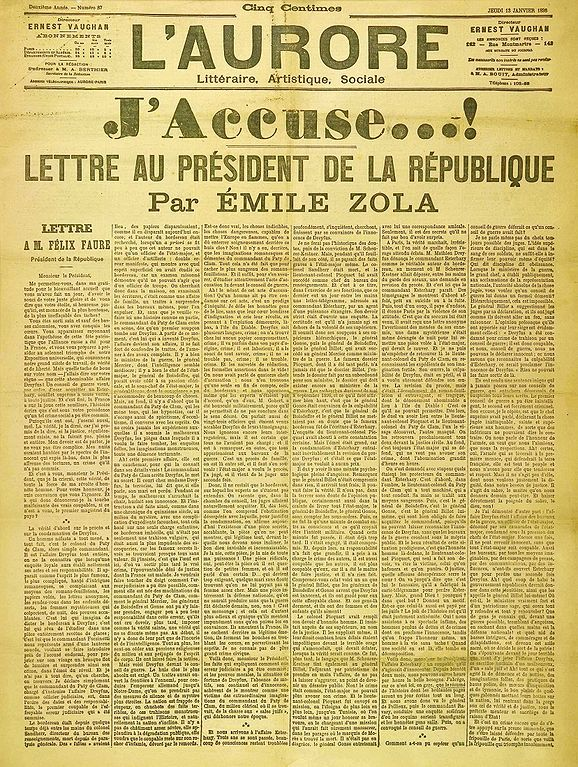 The article which incriminated Emile Zola