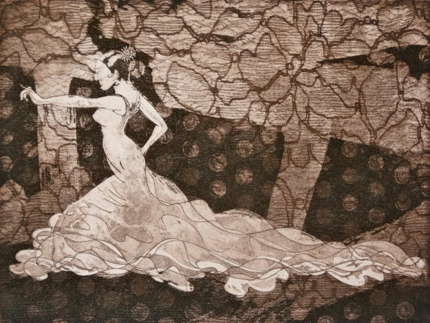 La Flamenca (copper etching on paper) © Nicholas de Lacy-Brown, 2013