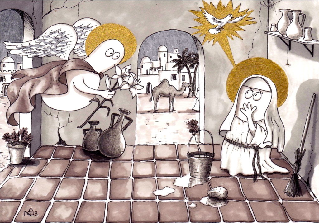 Norm Nativity: The Annunciation (2013 © Nicholas de Lacy-Brown, pen and gold ink on paper)