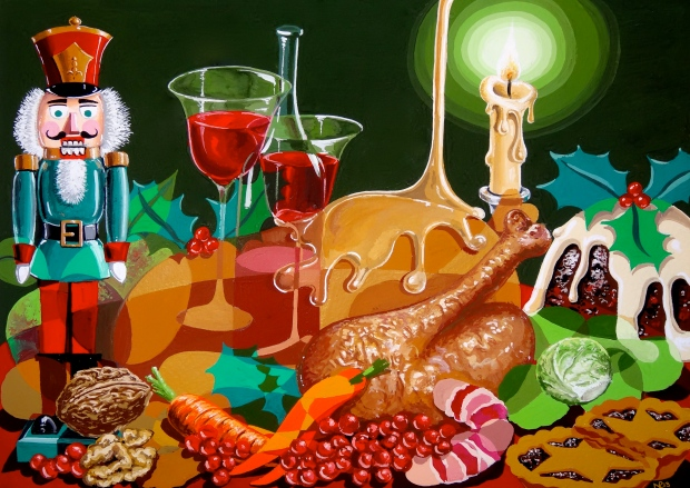 Composition No. 12 (Christmas Dinner) (2013 © Nicholas de Lacy-Brown, gouache on paper)