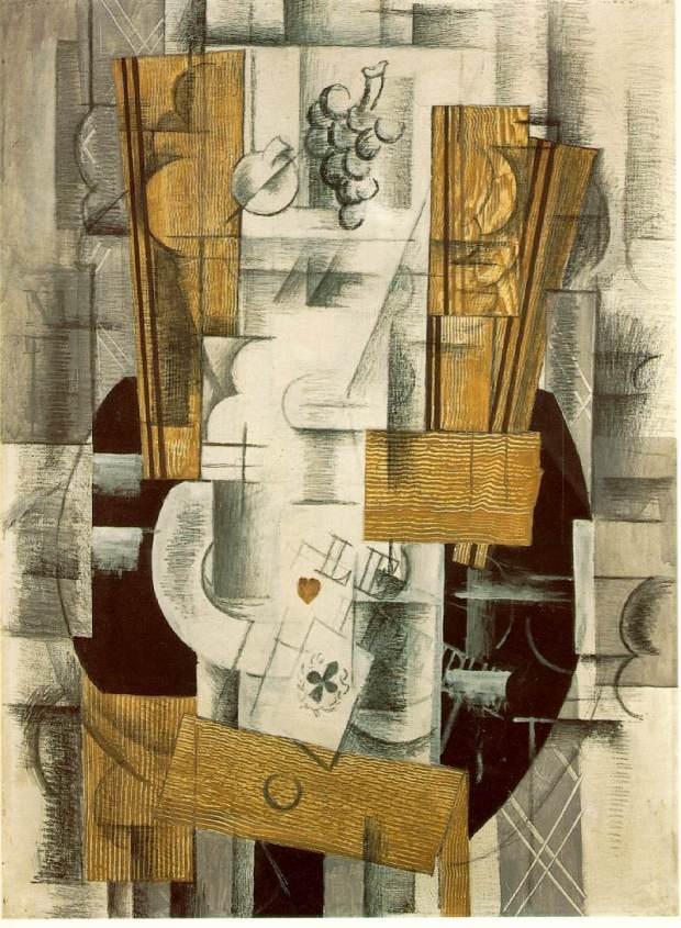 back to painting.... Still Life with Fruit and Ace of Clubs (1913)