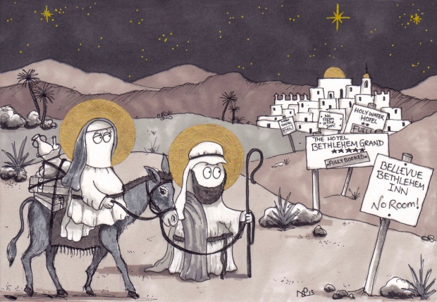 Journey to Bethlehem (2013 © Nicholas de Lacy-Brown, pen and gold paint on paper)