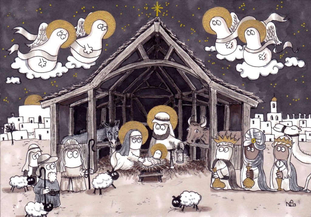 The Norm Nativity: Jesus Norm is Born! (2013 © Nicholas de Lacy-Brown, pen, ink and gold paint on paper)