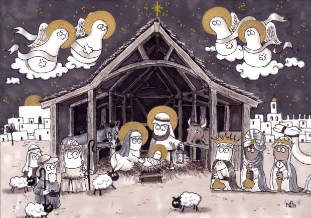 The Norm Nativity: Jesus Norm is Born! (2013 © Nicholas de Lacy-Brown, pen, ink and gold paint on paper)