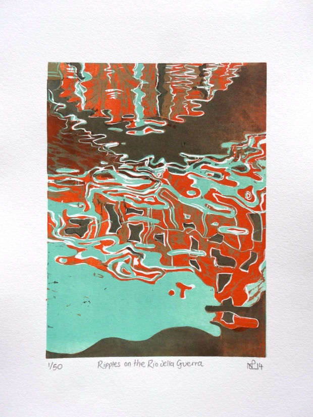 Ripples on the Rio della Guerra (2014 © Nicholas de Lacy-Brown, woodcut print on paper)