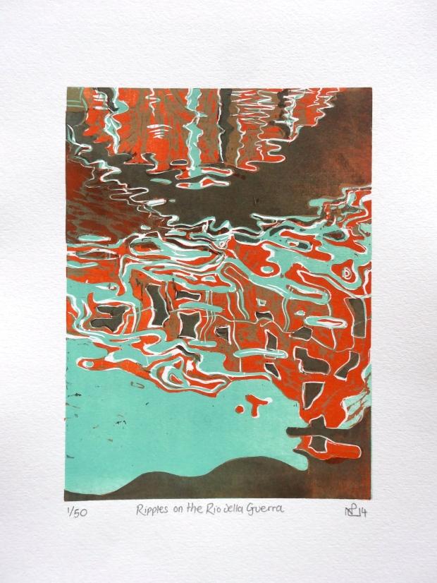 Ripples on the Rio della Guerra (2014 © Nicholas de Lacy-Brown, woodcut print on paper)