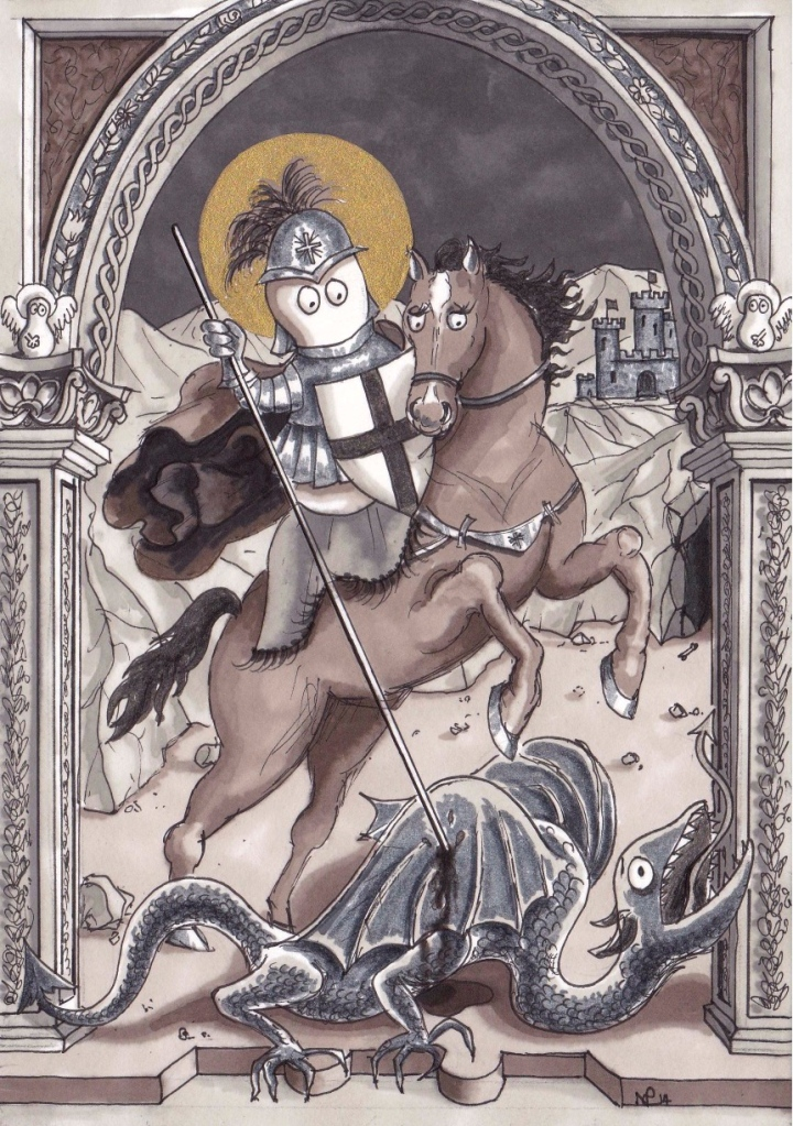 St George Norm (2014 © Nicholas de Lacy-Brown, pen, ink and gold paint on paper)