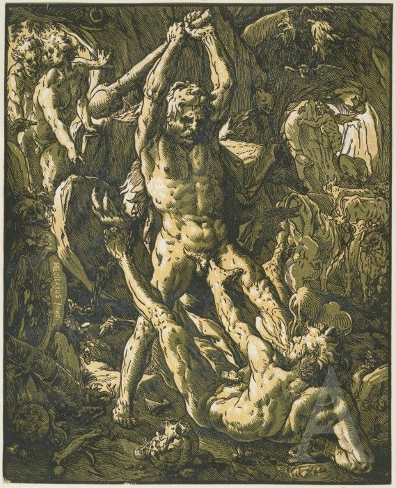 Hendrick Goltzius, Hercules Killing Cacus, 1588. Chiaroscuro woodcut printed from three blocks, the tone blocks in yellow and green, 41.1 x 33.3 cm. Collection Georg Baselitz. Photo: Albertina, Vienna