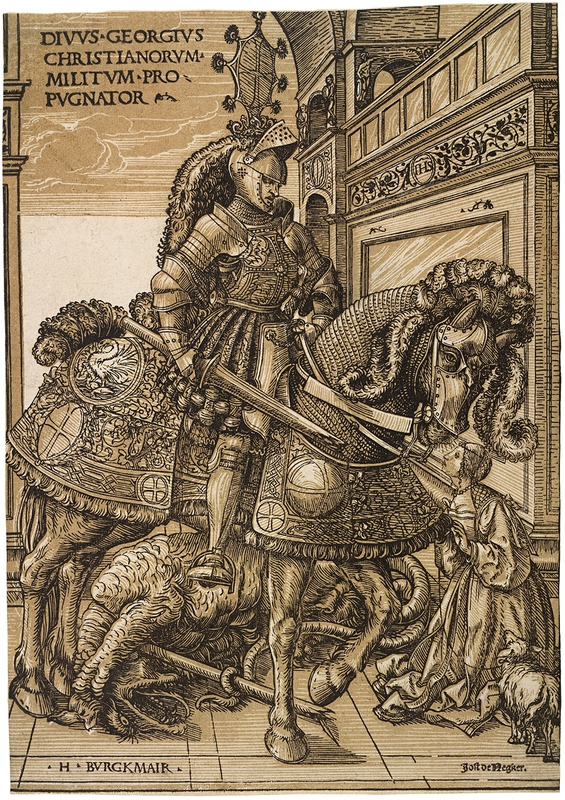 "Hans Burgkmair the Elder, 'St George and the Dragon', c. 1508-10."" Chiaroscuro woodcut printed from two blocks, the tone block in beige. 31.9 x 22.5 cm. Collection Georg Baselitz. Photo Albertina, Vienna. Organised by the Royal Academy of Arts, London and the Albertina, Vienn"