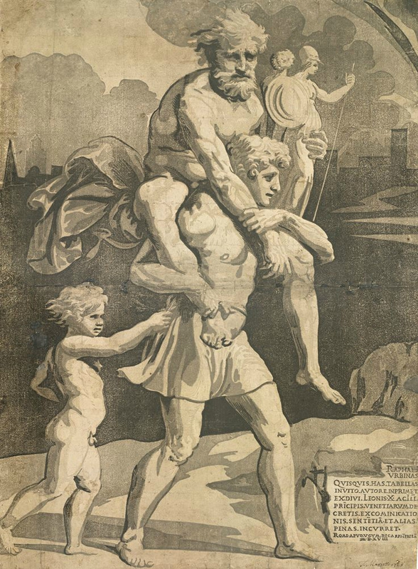 Ugo da Carpi, after Raphael; Aeneas and Anchises 1518, Chiaroscuro woodcut printed from four tone blocks, in beige and grey 51 x 37.4 cm Collection Georg Baselitz. Photo Albertina, Vienna. Organised by the Royal Academy of Arts, London and the Albertina, Vienn