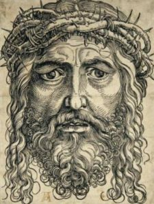 Hans Sebald Beham, Head of Christ Crowned (1520-1) - woodcut from two blocks, tone block in brown.