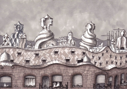 Norms at La Pedrera (2014 © Nicholas de Lacy-Brown, pen and ink on paper)