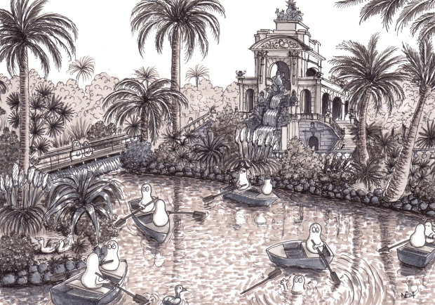 Norms at the Parc de la Ciutadella (2014 © Nicholas de Lacy-Brown, pen and ink on paper)