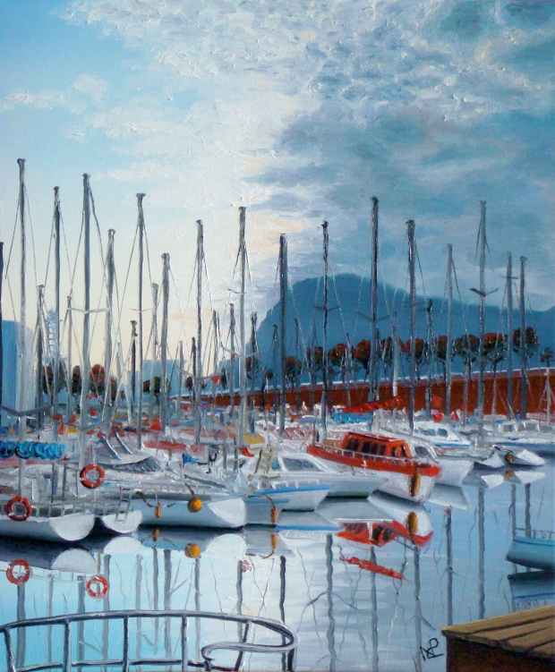 Seascape VI: Port Vell, Barcelona (2007 © Nicholas de Lacy-Brown, oil on canvas)