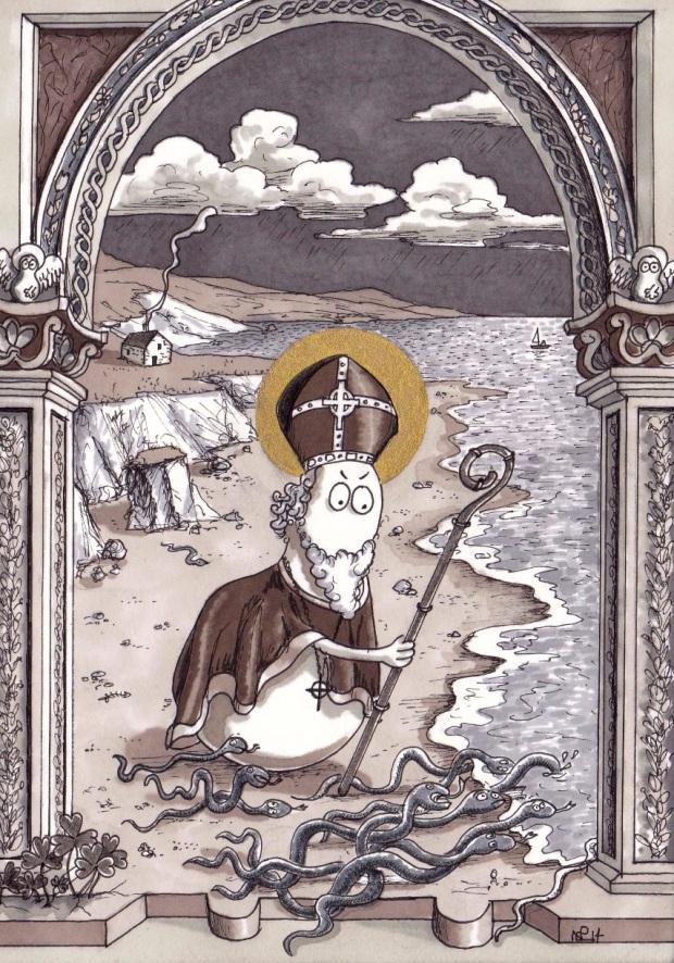 St Patrick Norm (2014 © Nicholas de Lacy-Brown, pen and gold paint on paper)