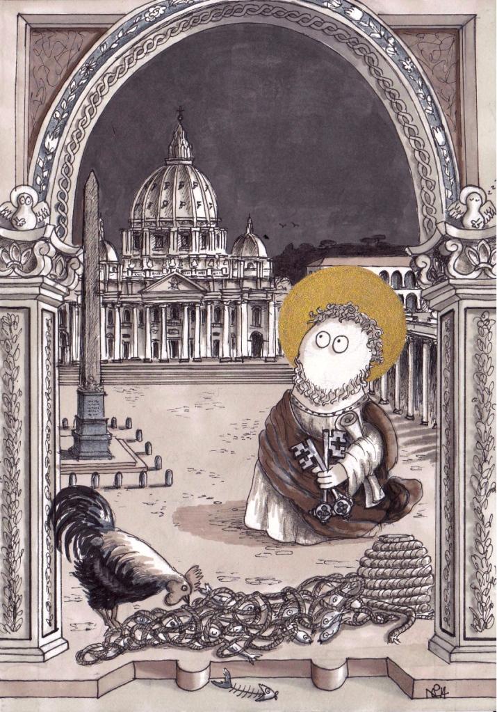 St Peter Norm (2014 © Nicholas de Lacy-Brown, pen and gold paint on paper)