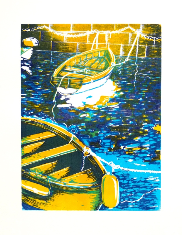 Boats in the Porto Santa Lucia, Naples (2014 © Nicholas de Lacy-Brown, woodcut (3 plates) printed on fabriano)