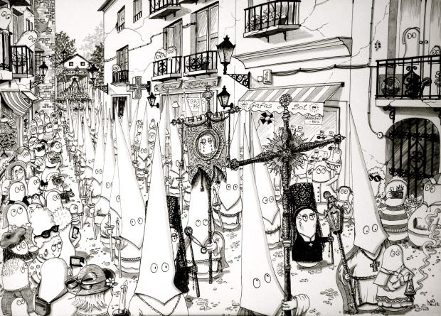 Semana Santa - Norms attend a procession - the 2012 original (© Nicholas de Lacy-Brown, pen on paper)