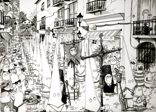 Semana Santa - Norms attend a procession - the 2012 original (© Nicholas de Lacy-Brown, pen on paper)